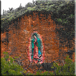 Hillside painting of the Virgin of Guadalupe