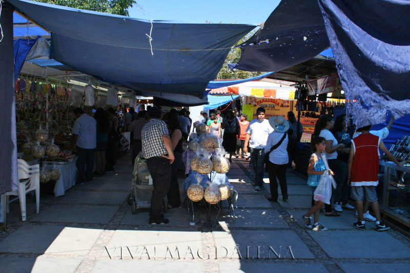 Vendors sell a variety of goods on the sidewalks around Plaza Monumental