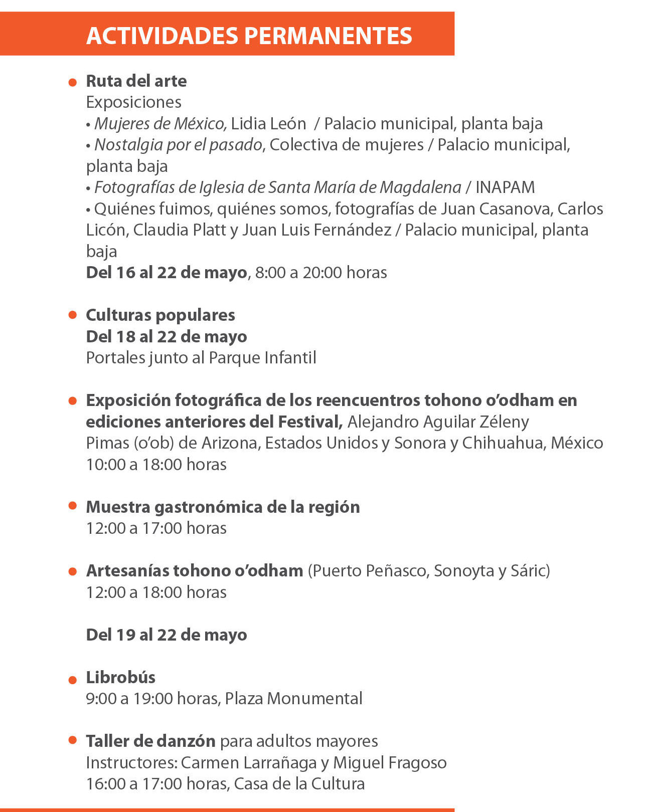 Programa Festival Kino 2016 actividades permanentes